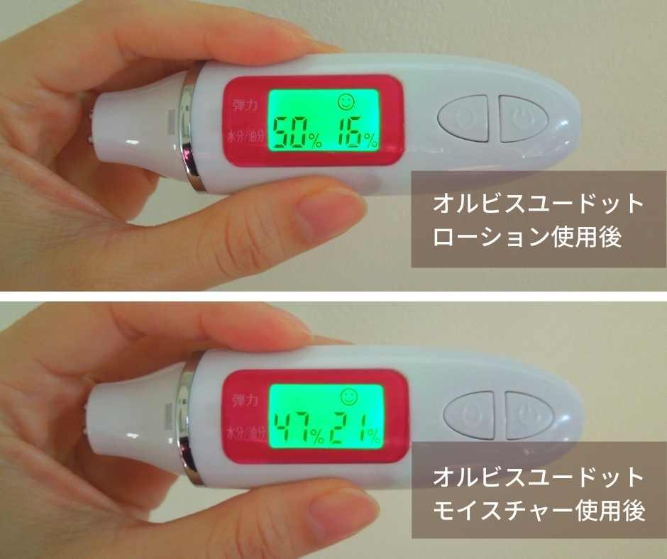 オルビスユードットモイスチャー使用後の肌をチェック